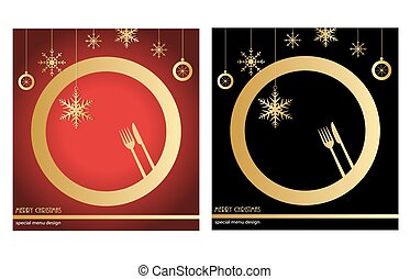 Christmas menu in red and black