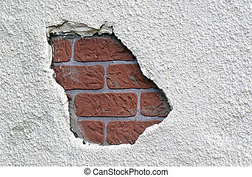 Hole in a brick wall Abstract background texture