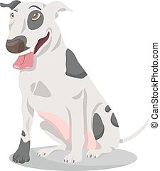 bull terrier dog cartoon illustration - Cartoon Illustration...