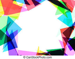 texture from color plastic triangles isolated on the white...