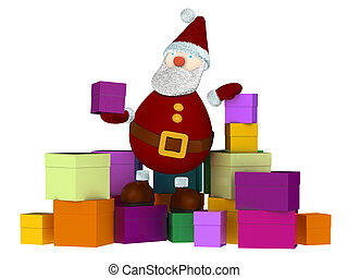 3D Santa Claus sitting on a stack of colored gift boxes and...