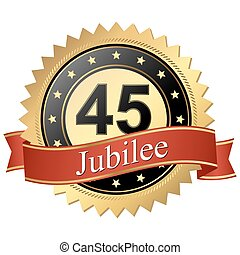 Jubilee button with banners - 45 years - Jubilee button with...
