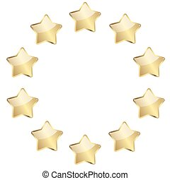 golden stars in a circle - vector of ten golden stars in a...