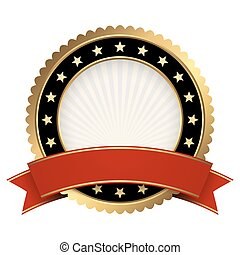 Button template gold and black with red banner