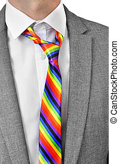 businessman with rainbow necktie - a businessman wearing a...