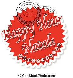 happy hour natale - label stamp with italian text happy hour...