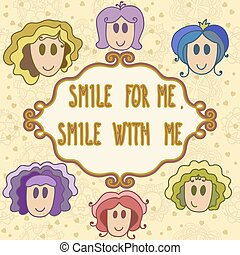 Lovely greeting card with smiling faces and frame - smile with m