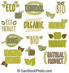 Set of organic, eco and bio labels