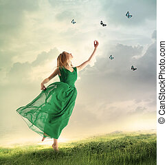 hermoso, Montaña, mariposas, gracioso, niña