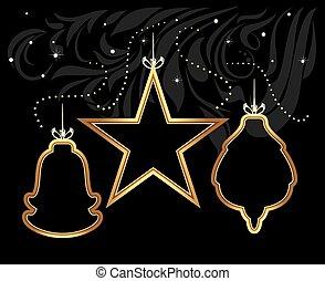 Stylized shining Christmas toys on decorative black...