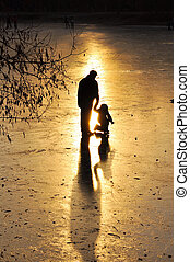 Skating, silhouette of the child - Rink, the silhouette of...