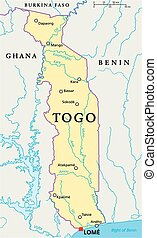 Togo Political Map with capital Lome, national borders, most...