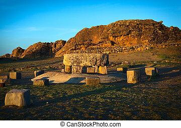 ceremonial, tabla, y, el, roca, de, el, puma, en, ISLA, del,...