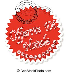 offerta di natale - label stamp with italian text offerta di...