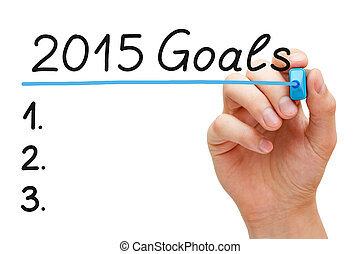 Goals 2015 Hand Blue Marker - Hand underlining 2015 Goals...