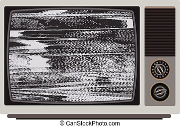 Old TV with bad signal.