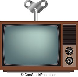 Old TV with winder.