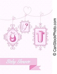 Baby shower girl hanging elements