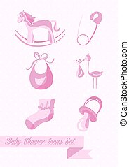 Baby shower girl icons set design