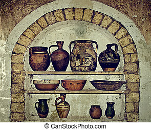 Old photo with Romanian traditional home interior 1 -...
