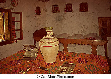 Old photo with Romanian traditional home interior - Romanian...