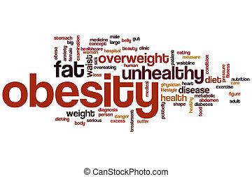 obesità, parola, nuvola,