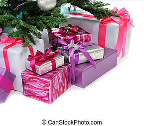 gifts under Christmas tree - heap of gifts under Christmas...