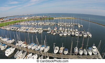aerial view of yacht club
