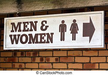hombres, y, mujeres, servicios,