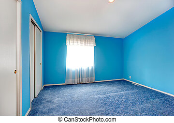Emtpy bright blue bedroom interior