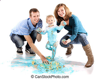 Family cake smash - Caucasian family with mom dad and baby...