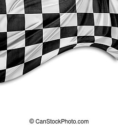 Checkered flag - Checkered black and white flag Copy space