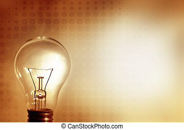 Light bulb glowing. Advertising copy space