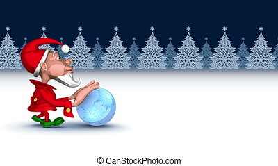 Christmas elf pushing magic snowflakes ball. 3D seamless...