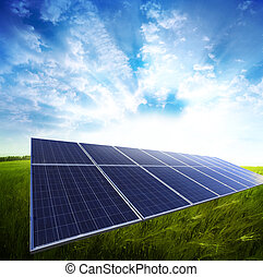 landscape - Solar panel in the green meadow