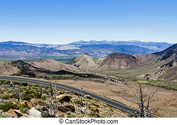 Two Lane Road Eastern Sierra Nevada Mountains - Empty Two...