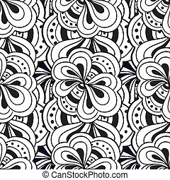 Vector doodle hand drawn abstract black and white seamless...