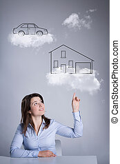 Woman thinking about her future - Graphics of woman thinking...