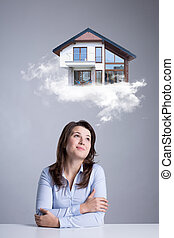 Woman dreaming about new house - Graphics of woman dreaming...