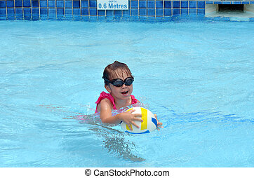 Child play with ball in swimming pool - GOLD COAST,AUS - NOV...