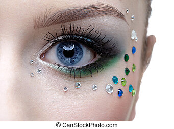 bodyart of eye zone - portrait of beautiful girls eye zone...