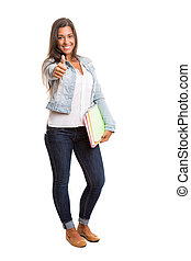Student - A beautiful student posing isolated over a white...