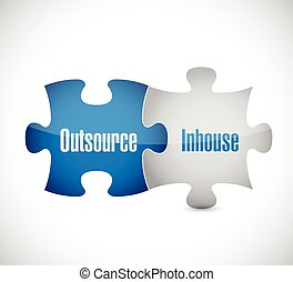 outsource and inhouse puzzle pieces illustration design over...
