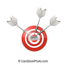 values target and dart illustration design over a white...