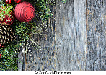 Christmas Decoration Over Wooden Background. Decorations...