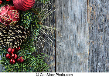 Christmas Decoration Over Wooden Background Decorations over...