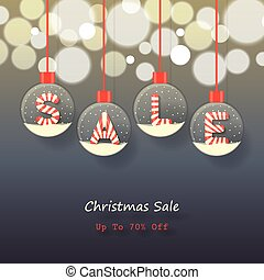 Christmas sale background - sale sign in red and white...