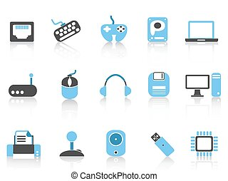 Computer & Devices icons blue color