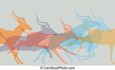 Herd running - Editable vector illustration of a herd of...