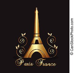 Eiffel Tower Paris gold design - Eiffel Tower Paris-France...